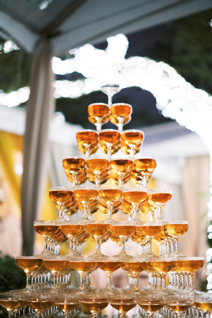 Champagne tower during wedding reception