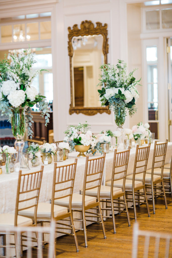 Long table at Quail Hollow Club wedding