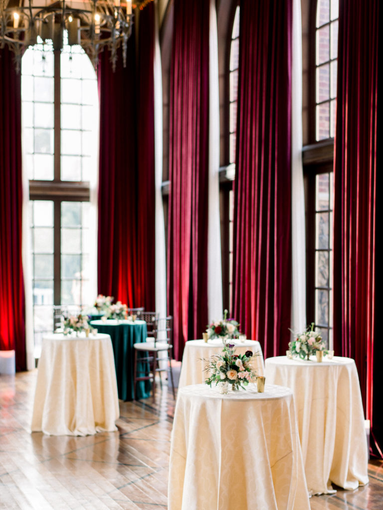 Cocktail tables dressed for Dover Hall wedding