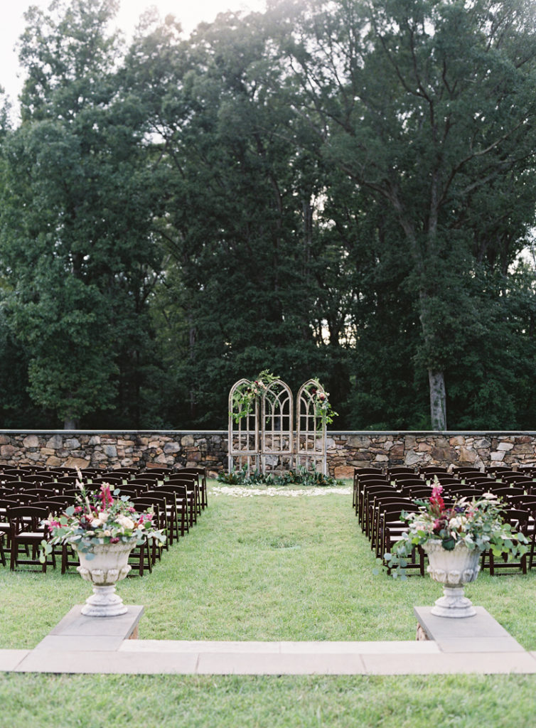 Dover Hall wedding ceremony set up in garden