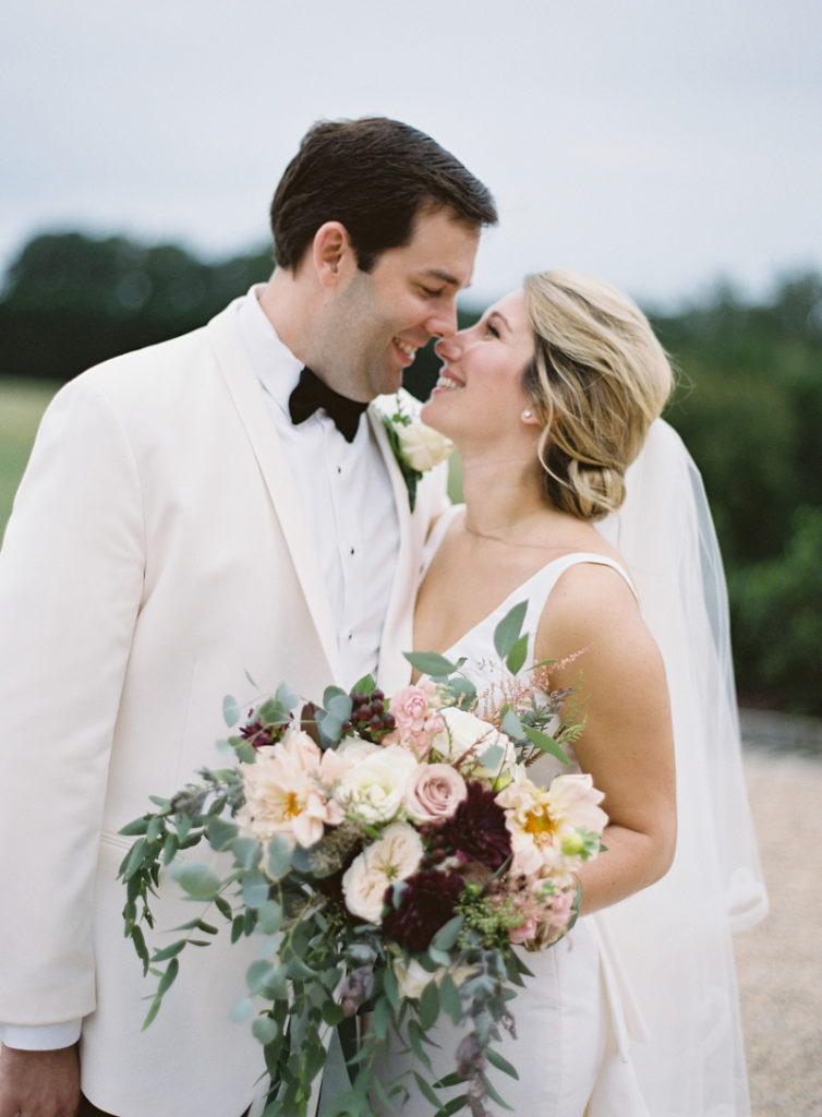 Bride and groom portrait during Dover Hall wedding