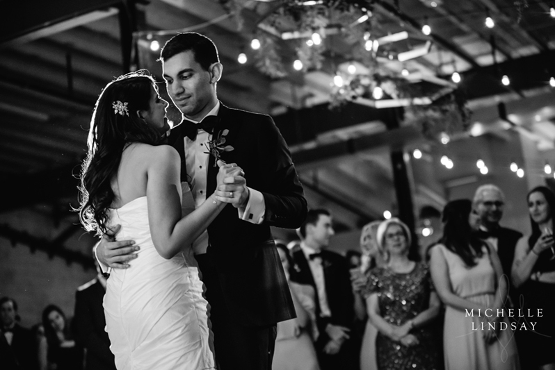 Bride and groom dancing first dance to Modern Luxe DC wedding band.