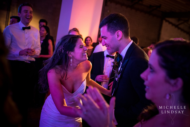 Bride and groom dancing to Modern Luxe wedding band
