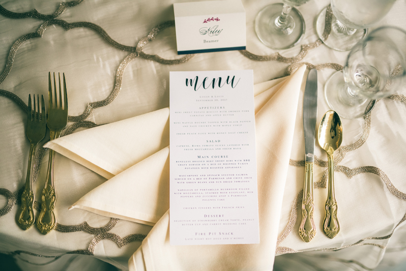 Place setting with menu card at Summerfield Farms wedding.