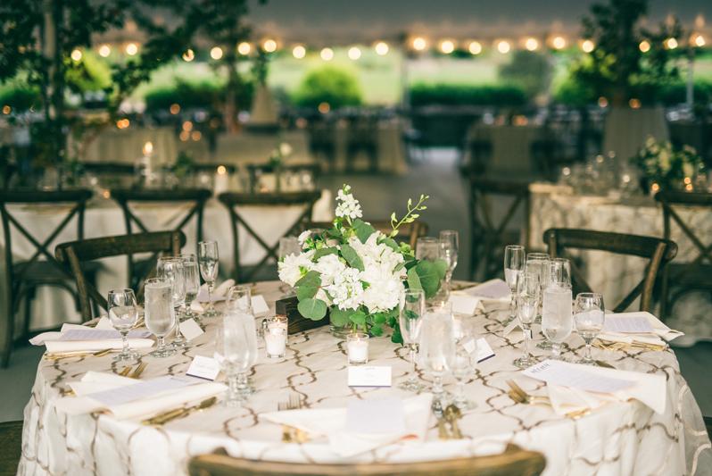 Tented wedding reception at Summerfield Farms weddding.