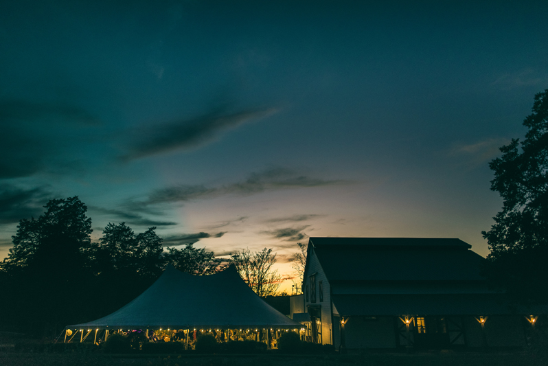 Dusk at Summerfield Farms wedding.
