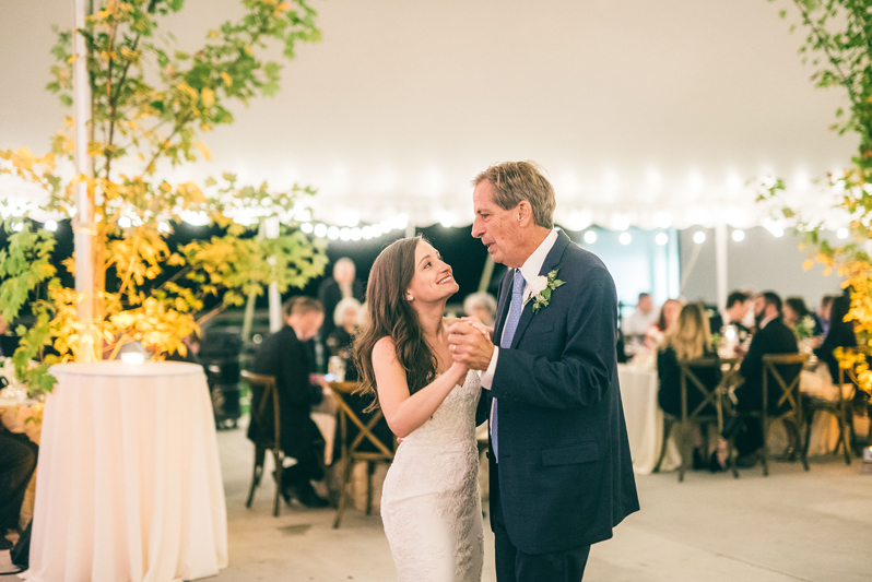 Father and daughter dancing during Summerfield Farms wedding.