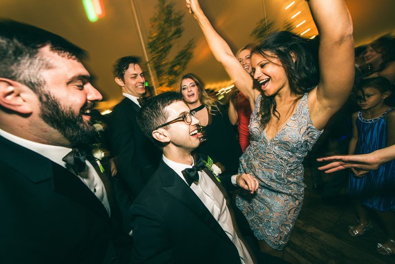Wedding guests dancing to Right to Party band at Summerfield Farms wedding.