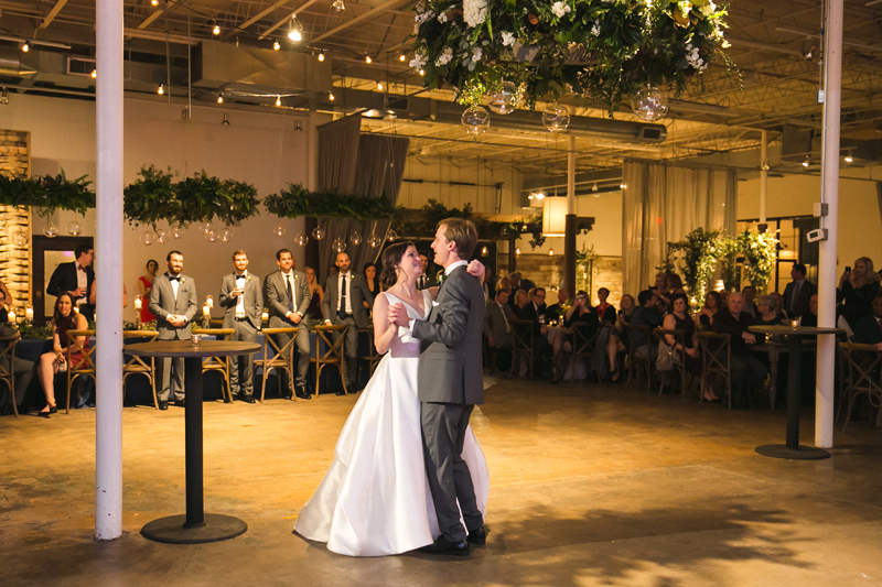 Bride and groom dancing their first dance to We Got The Beat band.