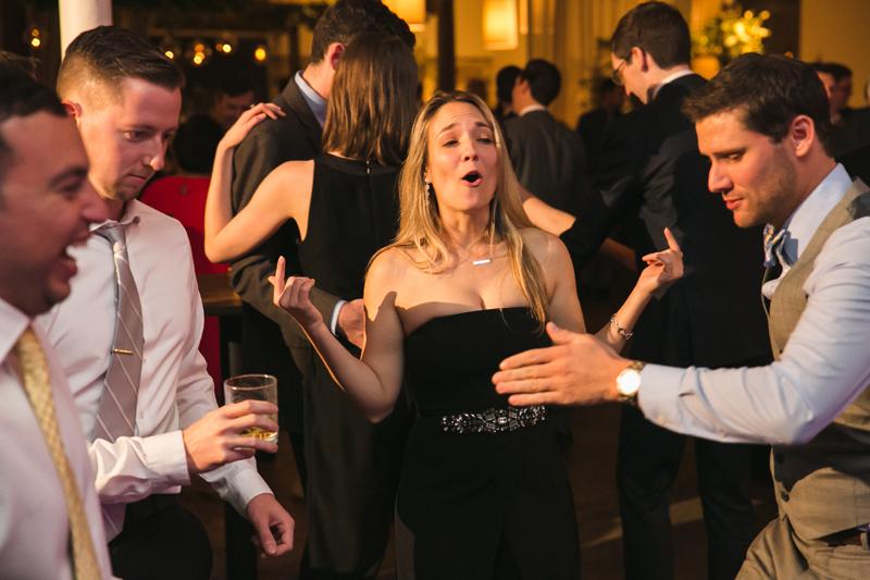 Guests dancing during Atlanta wedding reception.