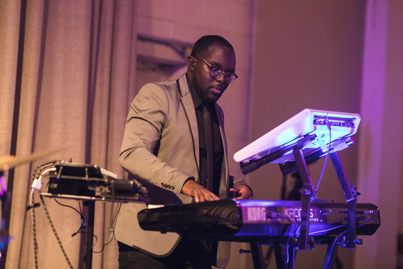 Keyboardist with WGTB band performing at The Stave Room wedding reception.