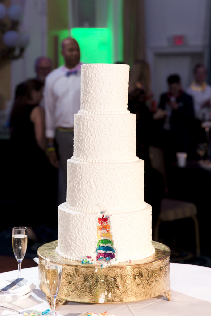 Same sex wedding cake created by The Jefferson Hotel.