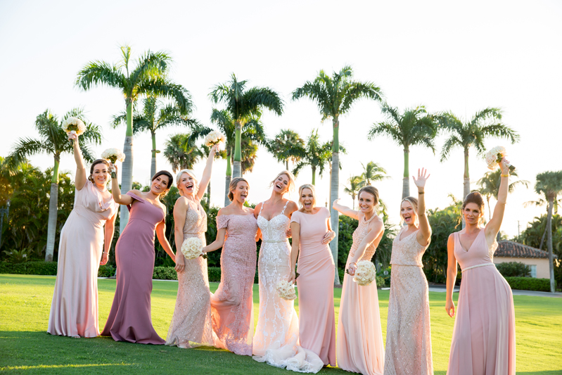 Bride and bridesmaids outside during Palm Beach wedding at Mar-a-Lago.