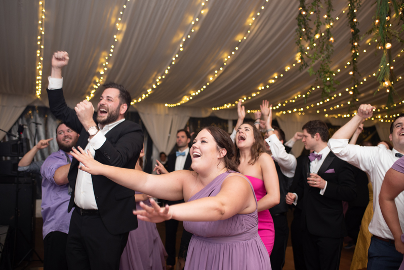 Crowded dance floor at Biltmore Estate wedding reception.