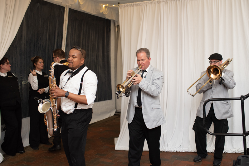 Bantum Rooster horns section performing at Biltmore wedding in Asheville, NC.