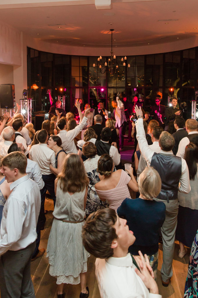 Crowded dance floor during Kiawah Island Club wedding reception.