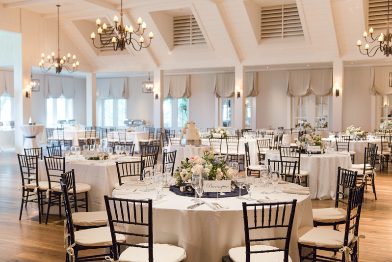 Kiawah Island Club ballroom decorated for wedding reception.