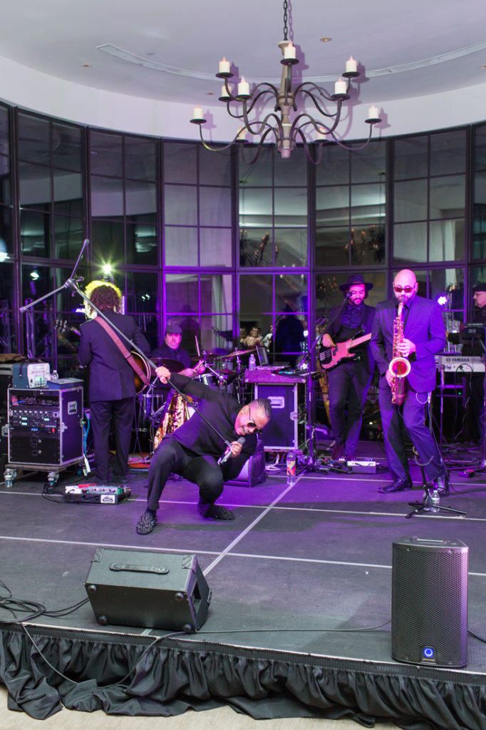 The Royals band performing on stage during Kiawah Island Club wedding reception.